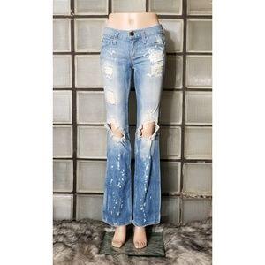 Armani X destroyed denim jeans